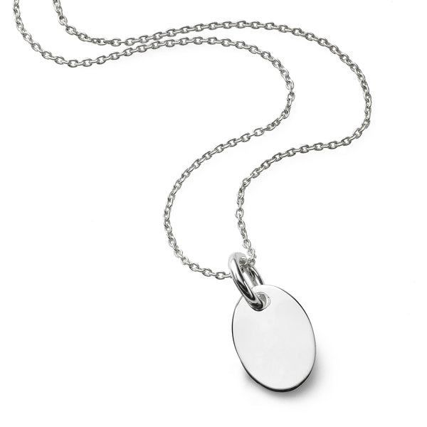 Engraveable Oval Disc Pendant, Sterling Silver
