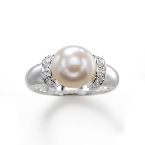 Freshwater Cultured Pearl and White Topaz Ring, Sterling Silver