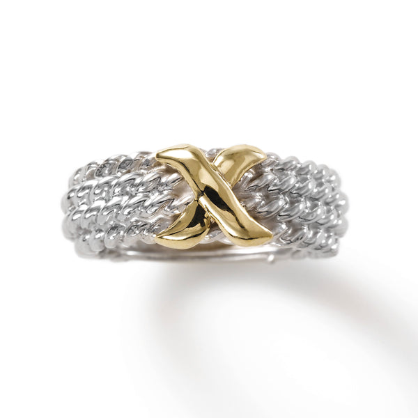 Rope Design with Gold 'X' Ring, Sterling Silver and 14K Yellow Gold