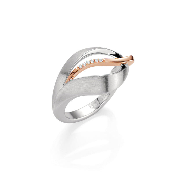Leaf Design Ring with White Sapphire Accent, Sterling with Rose Gold Plating