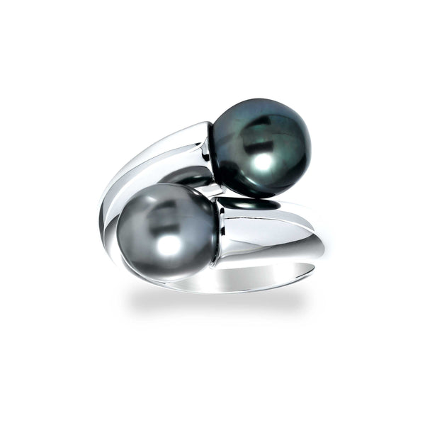 Cultured Tahitian Pearl Bypass Ring, Sterling Silver
