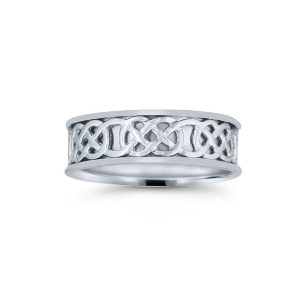 Celtic Braid Design Wedding Band, 7 MM, Argentium Sterling Silver