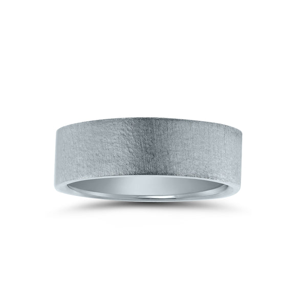 Flat Brushed Wedding Band, 6 MM, Argentium Sterling Silver