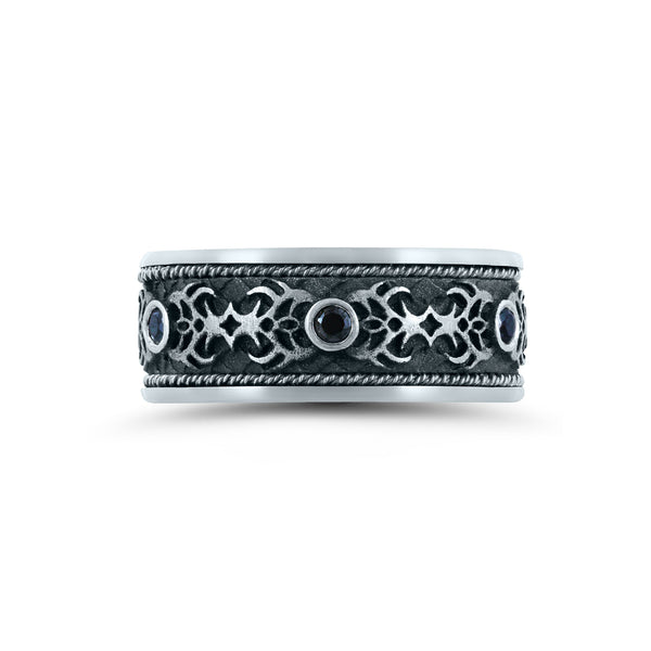 Gothic Design Wedding Band with Black Diamonds, 9.5 MM, Argentium Sterling Silver