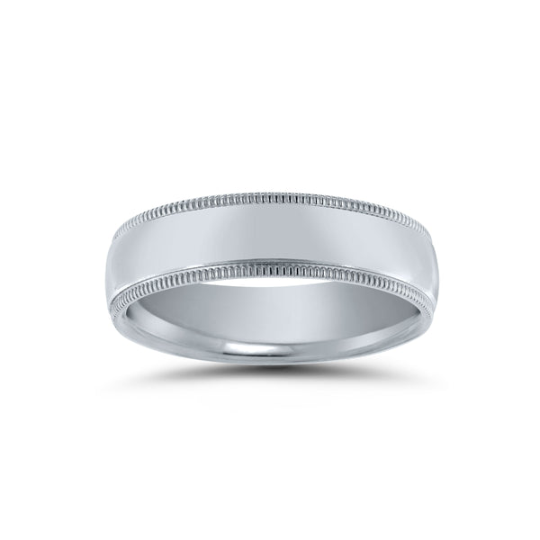 Center Domed Wedding Band with Milgrain Edges, 5 MM, Argentium Sterling Silver