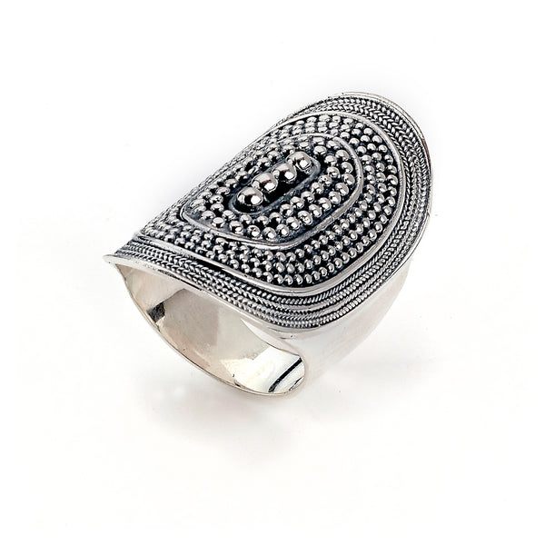Saddle Design Bead Ring, Sterling Silver