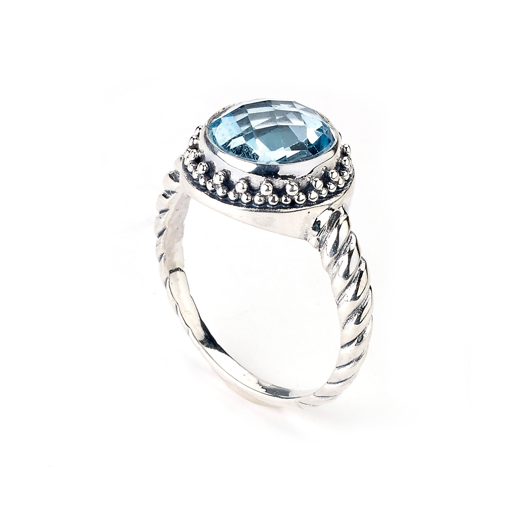 Round Faceted Blue Topaz Ring, Sterling Silver