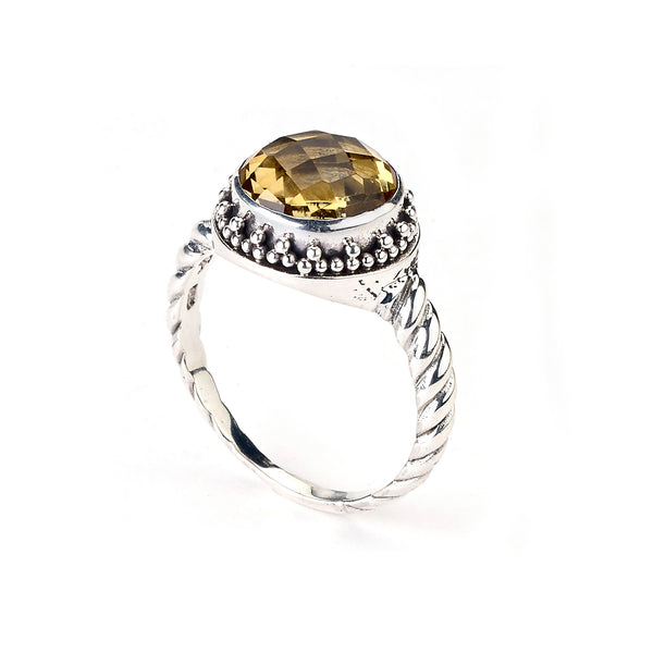Round Faceted Citrine Ring, Sterling Silver