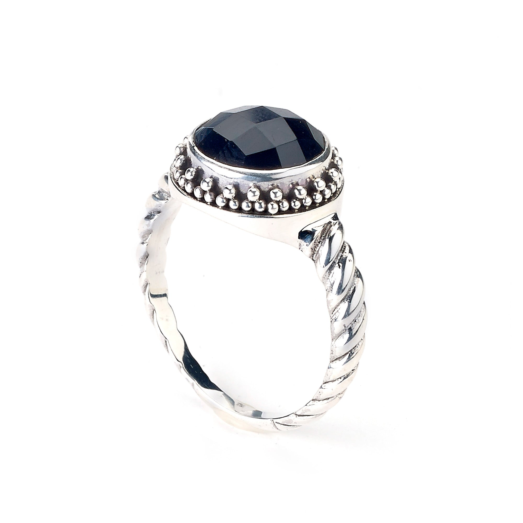 Round Faceted Black Onyx Ring, Sterling Silver
