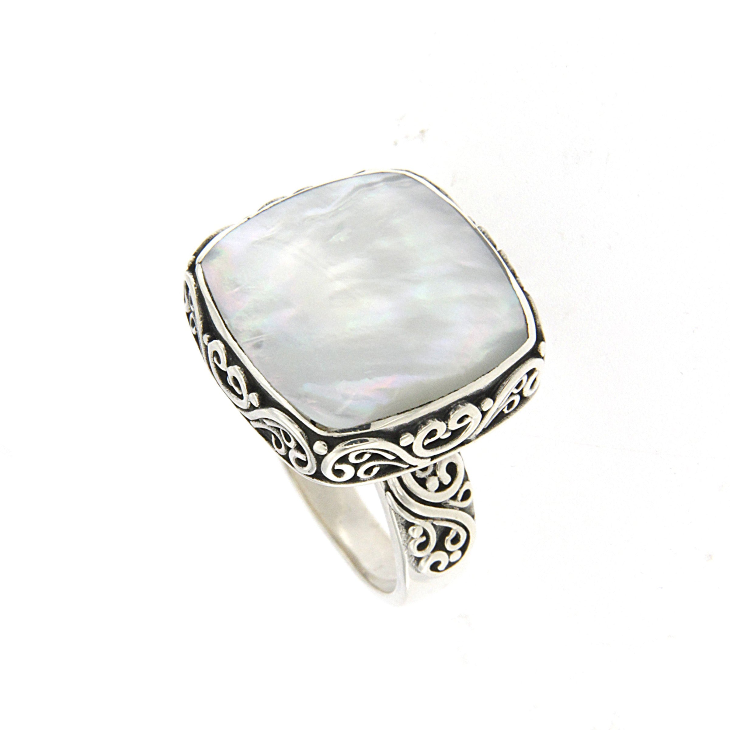 Square Balinese Design Mother of Pearl Ring, Sterling Silver