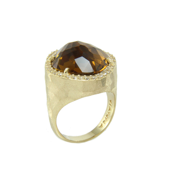 Freeform Whiskey Quartz and White Topaz Ring, Sterling Silver and Vermeil