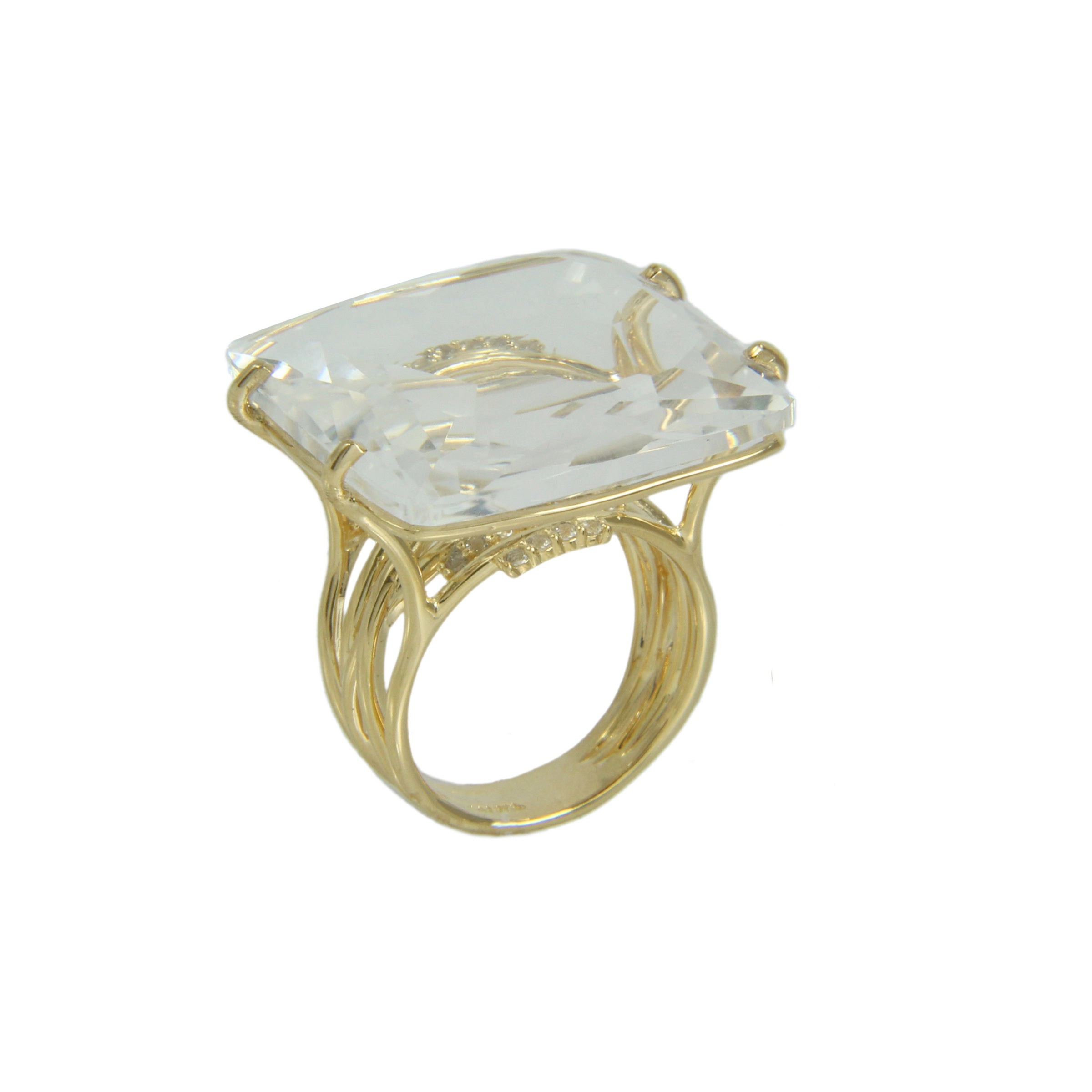 Colorless Rock Crystal and White Topaz Ring, Sterling Silver and Vermeil