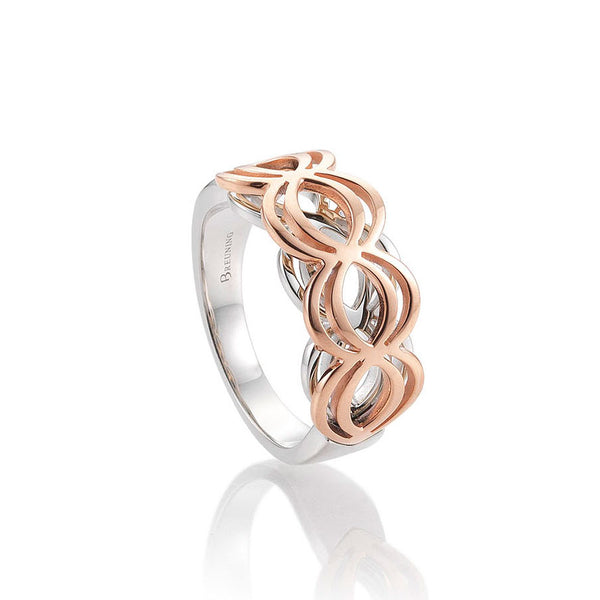 Openwork Design Ring, Sterling Silver with Rose Gold Vermeil