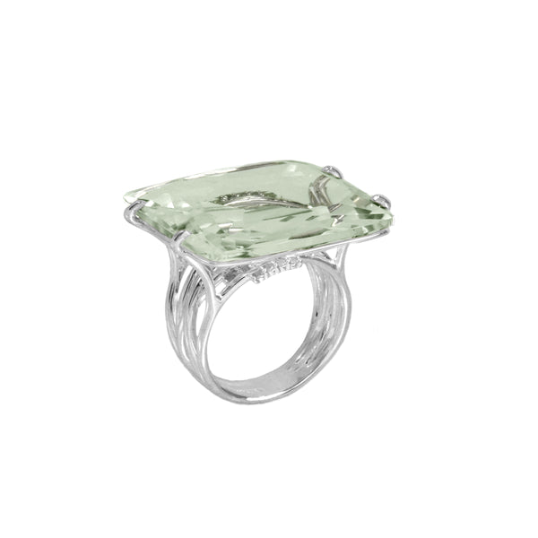 Prasiolite and White Topaz Ring, Sterling Silver and Vermeil