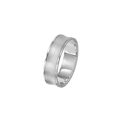 Concave Brushed Wedding Band, 6 MM, Argentium Sterling Silver