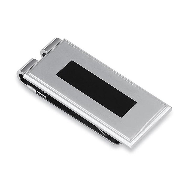 Sleek Black Enamel Money Clip, Stainless Steel