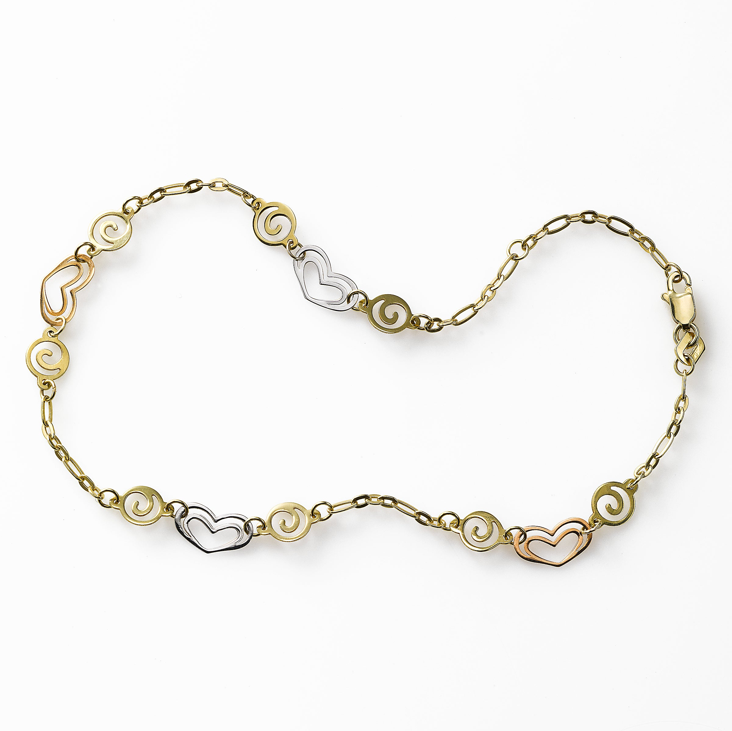 Heart and Swirl Link Ankle Bracelet, 14K