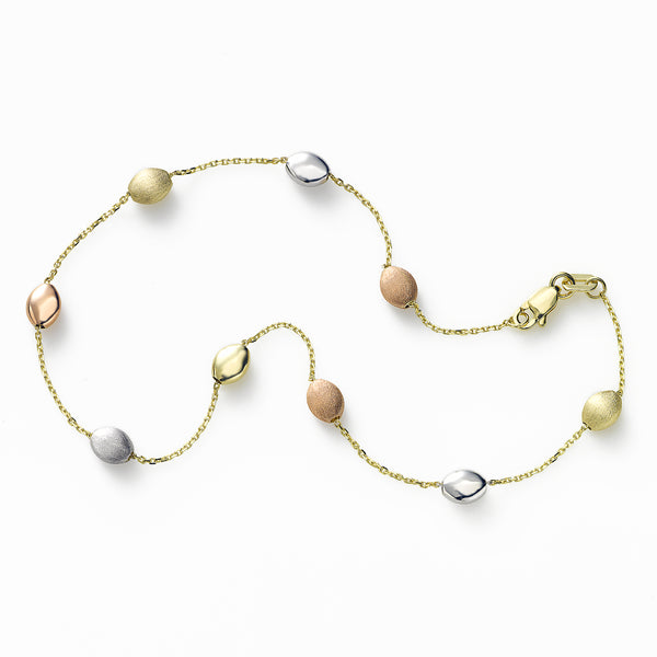 Tri Color Pebble Ankle Bracelet, 14K