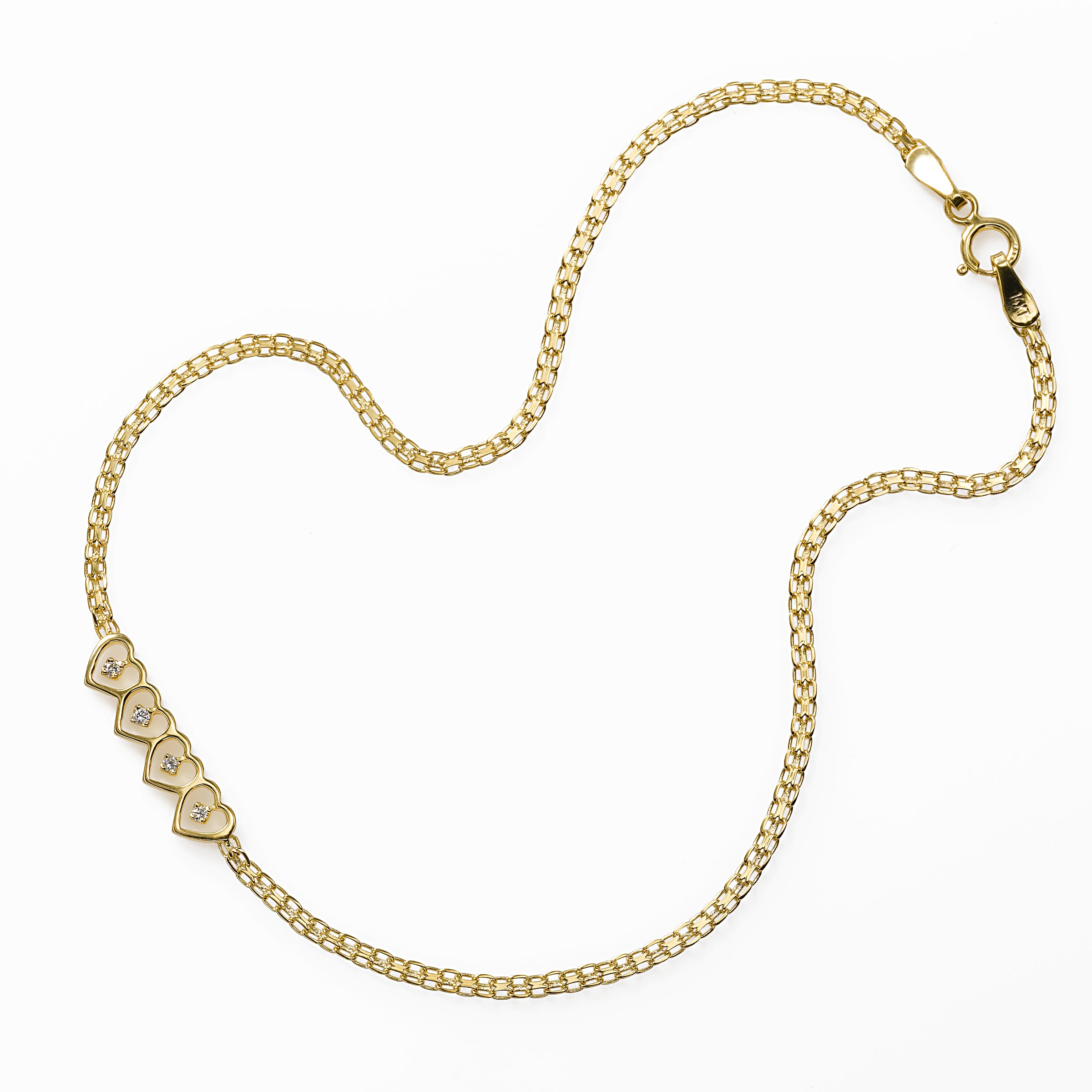 Diamond Accent Open Hearts Ankle Bracelet, 14K