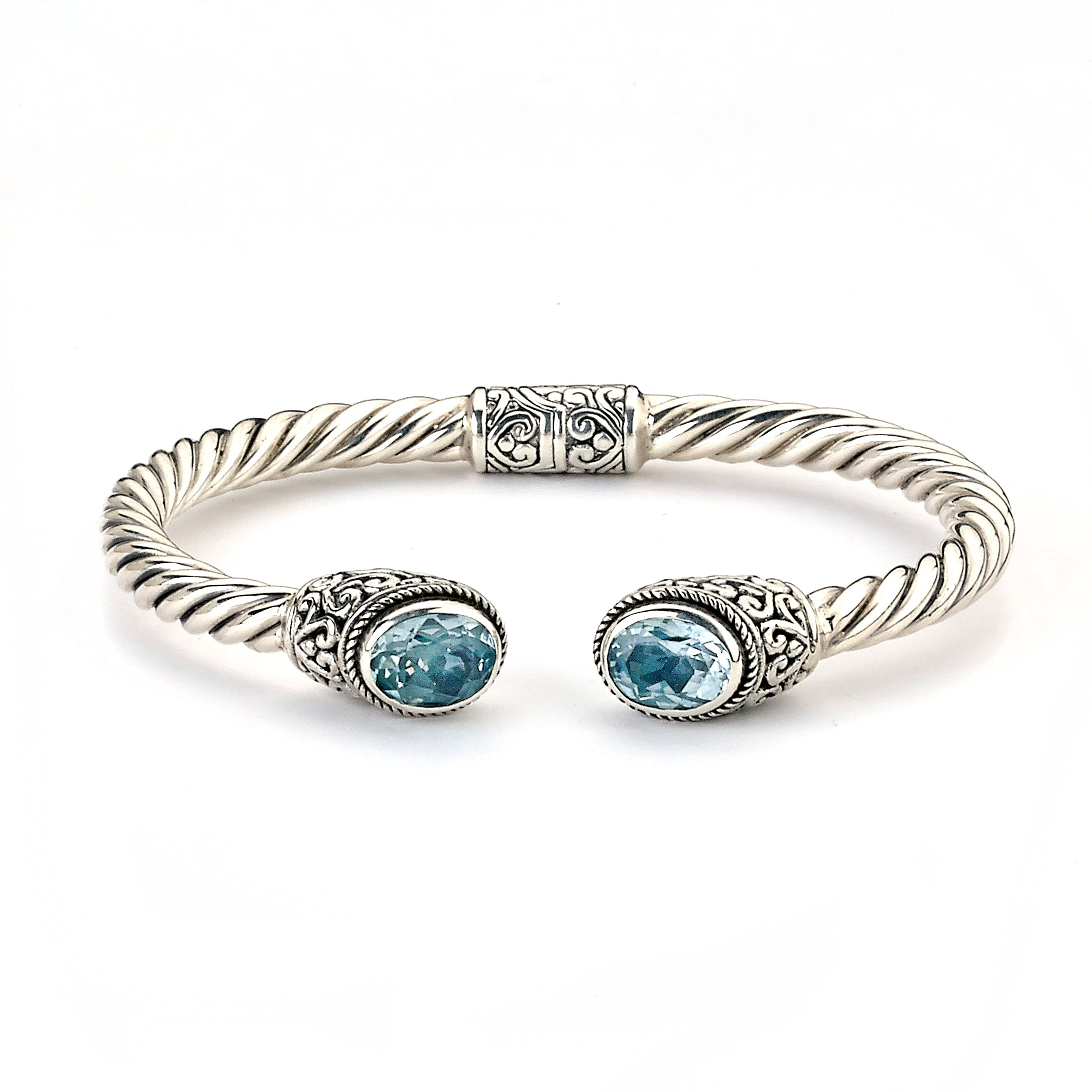 Hinged Cuff with Blue Topaz Ends, Sterling Silver