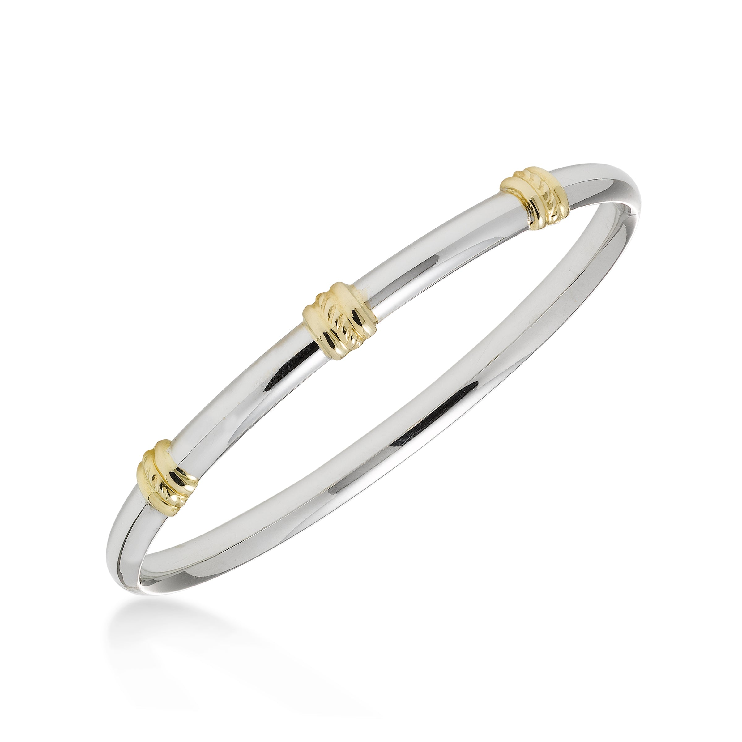 Two Tone Bangle Bracelet, 14K Gold