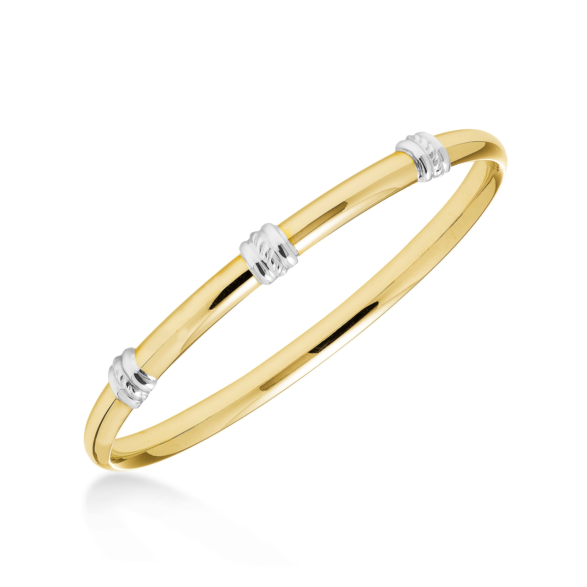 Two Tone Bangle Bracelet, 14K Yellow and White Gold