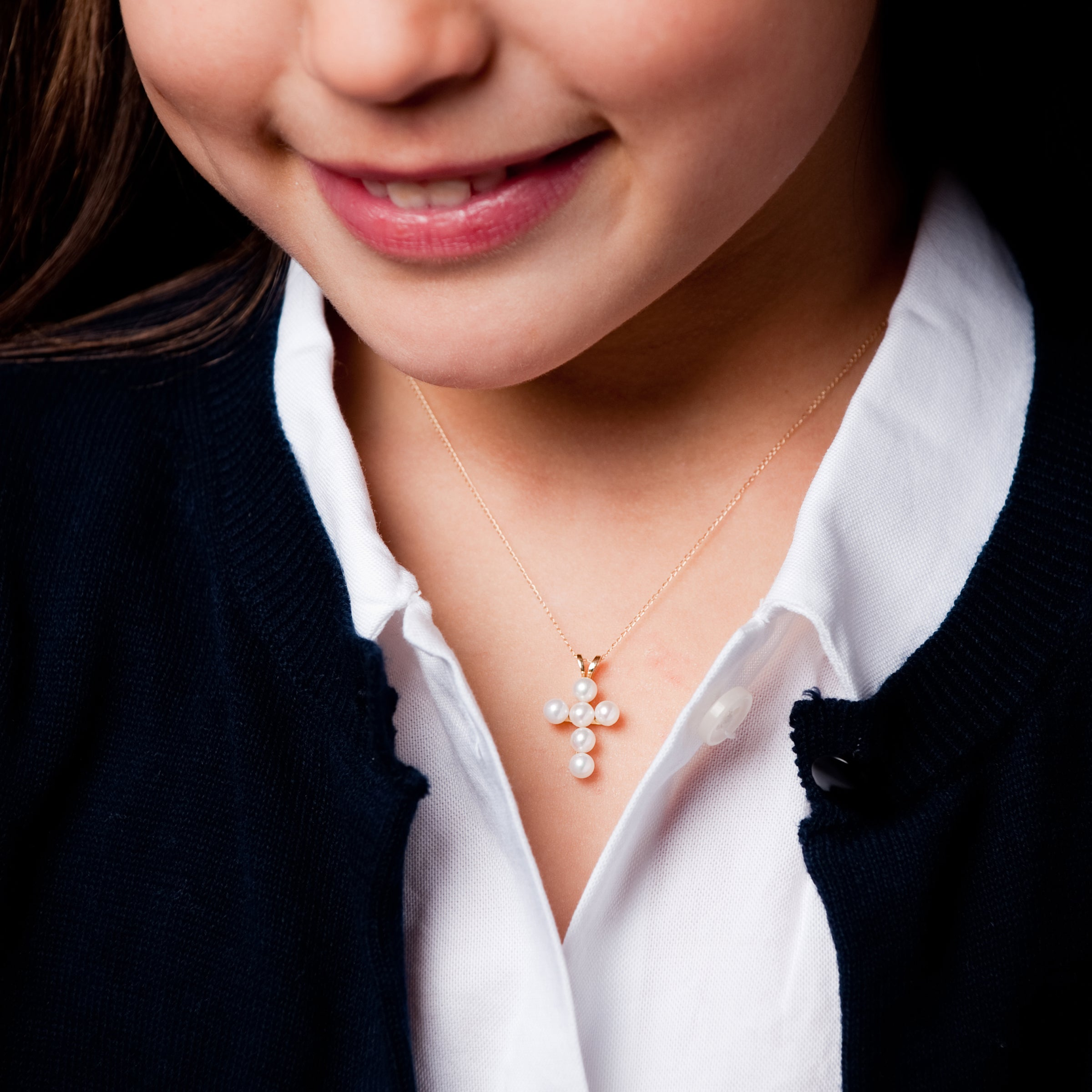 Child's White Pearl Cross Pendant, 14K