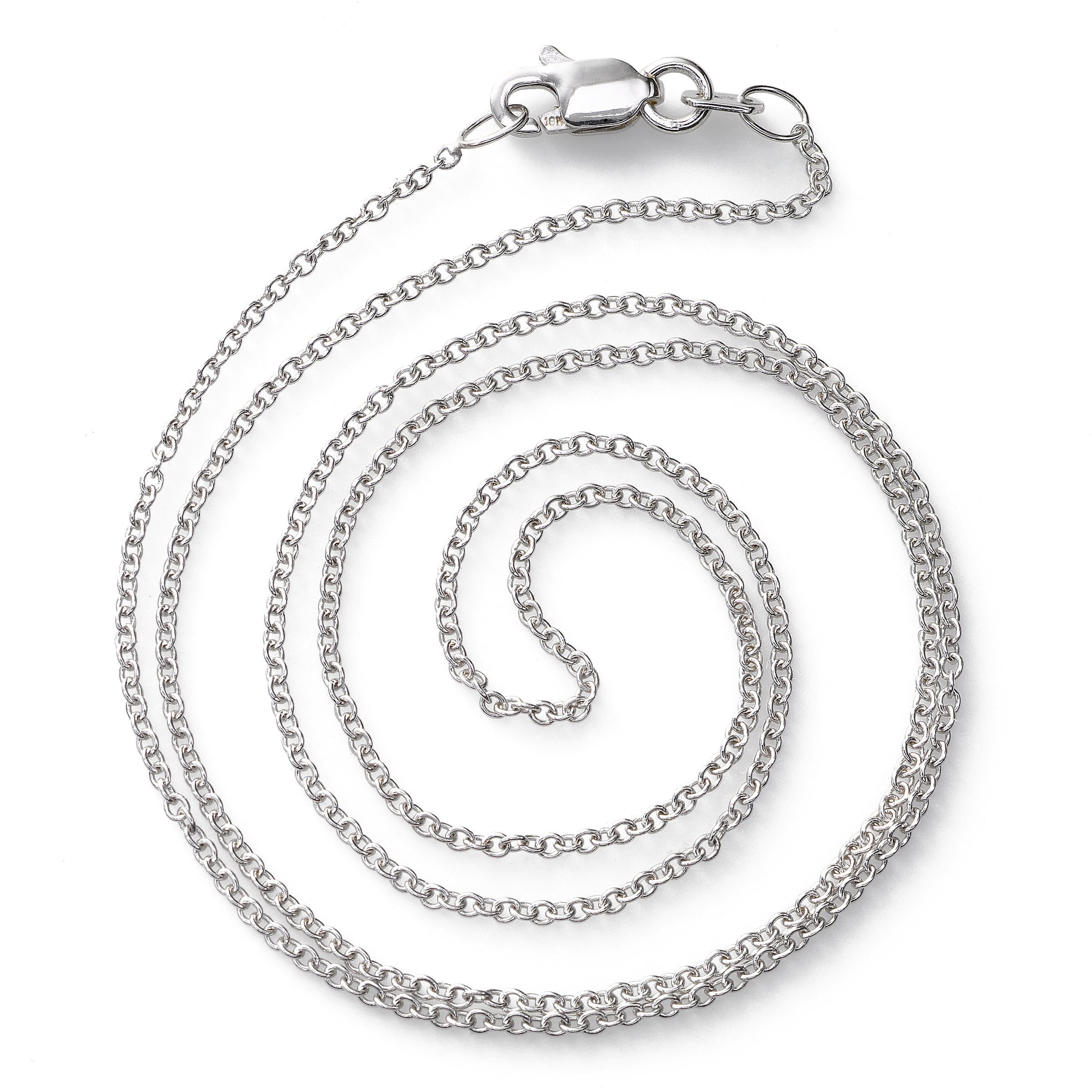 Cable Chain, 16 or 18 Inches, 14K White Gold