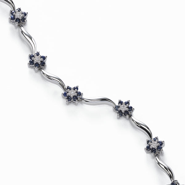 Floral Sapphire and Diamond Bracelet, 14K White Gold