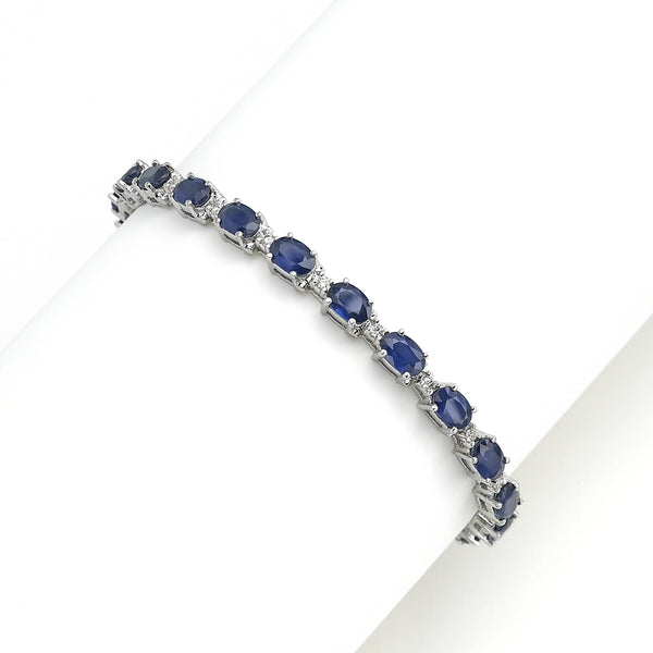 Oval Sapphire and Diamond Bracelet, 14K White Gold