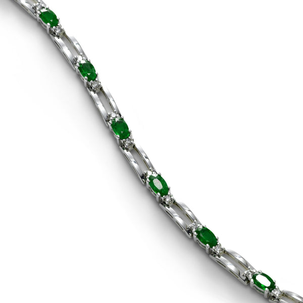 Oval Emerald and Diamond Link Bracelet, 14K White Gold