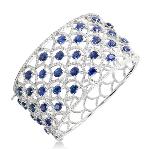 Sapphire and Diamond Lacework Cuff Bracelet, 18K White Gold