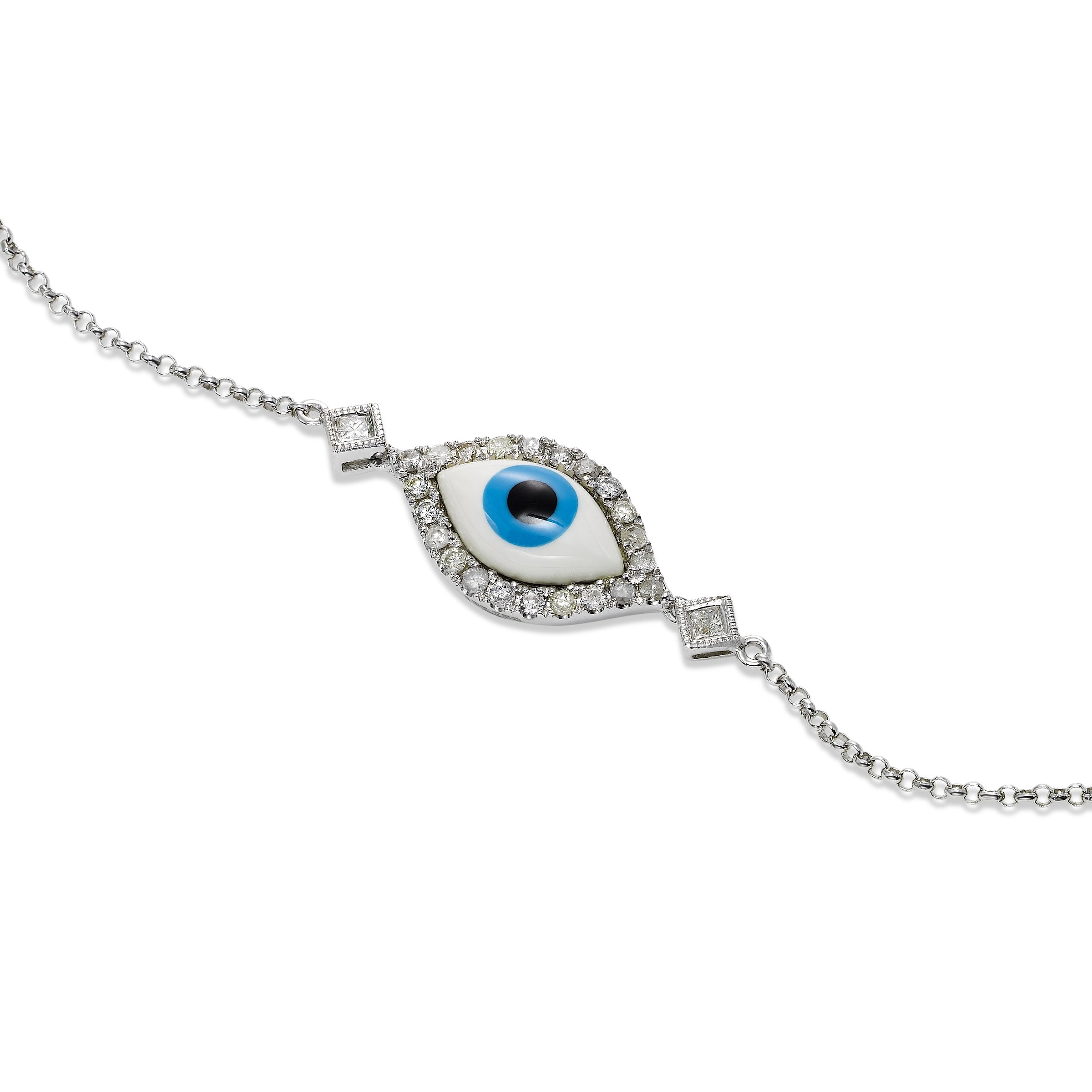 Diamond and Enamel Evil Eye Flexible Bracelet, 18K White Gold