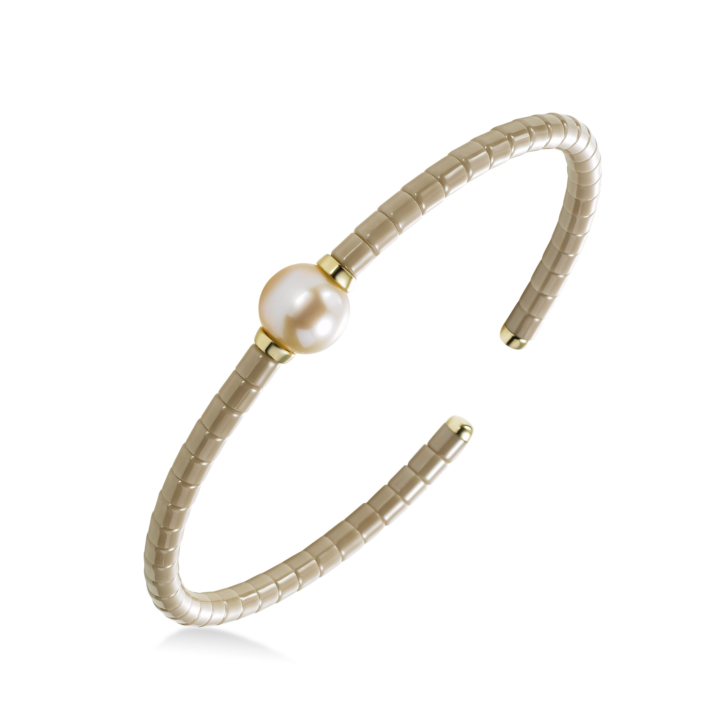 Ceramic Bead Bracelet with Freshwater Cultured Pearl, 18K Yellow Gold