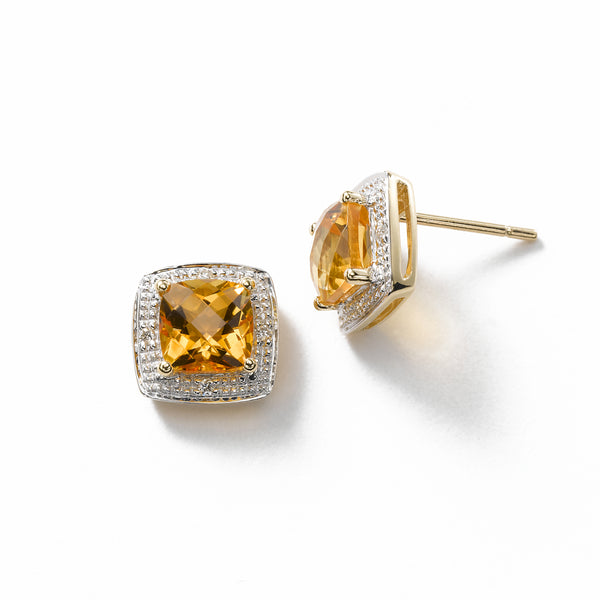 Square Citrine Stud Earring, 14K Yellow Gold