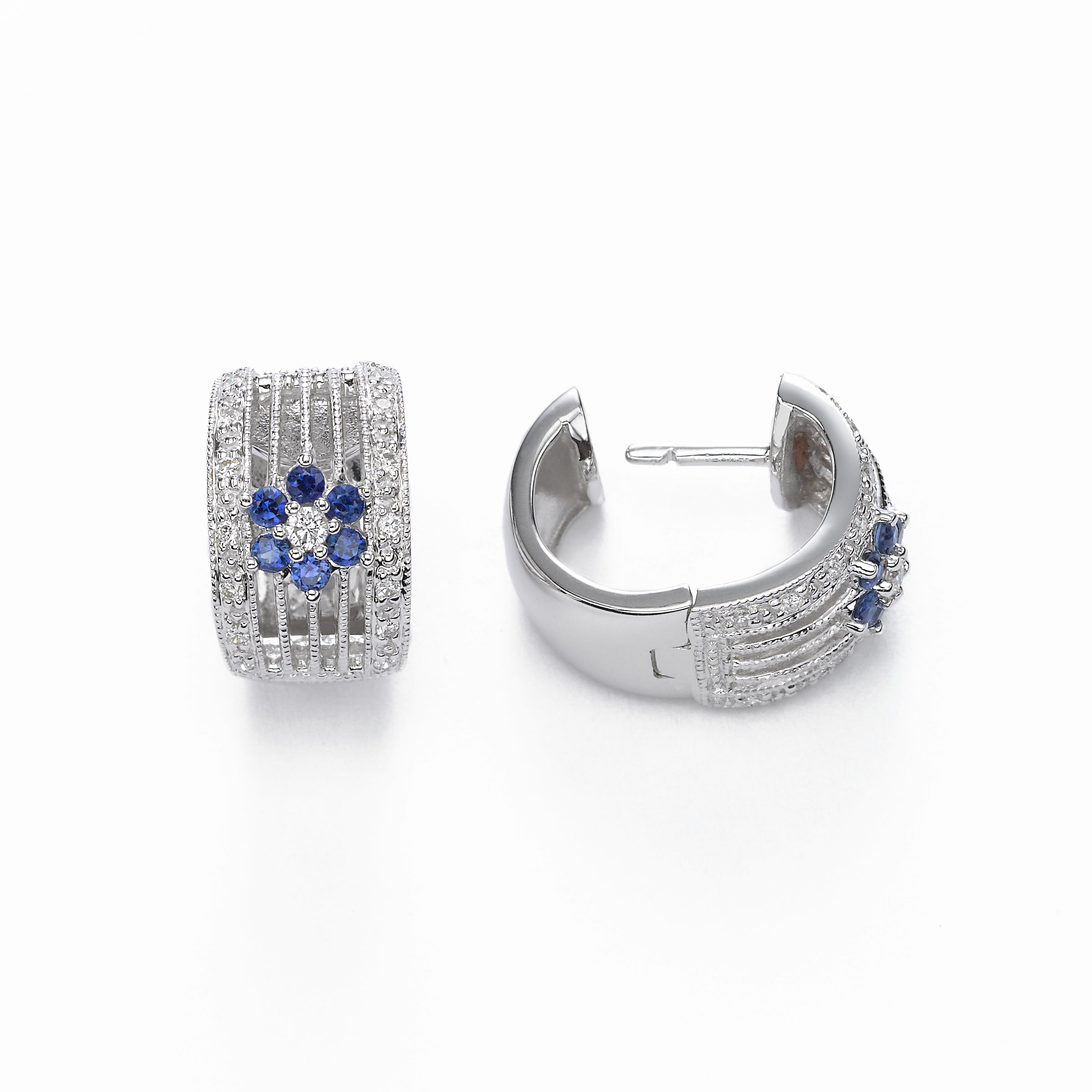 Sapphire and Pave Floral Diamond Hoop Earring, 14K White Gold