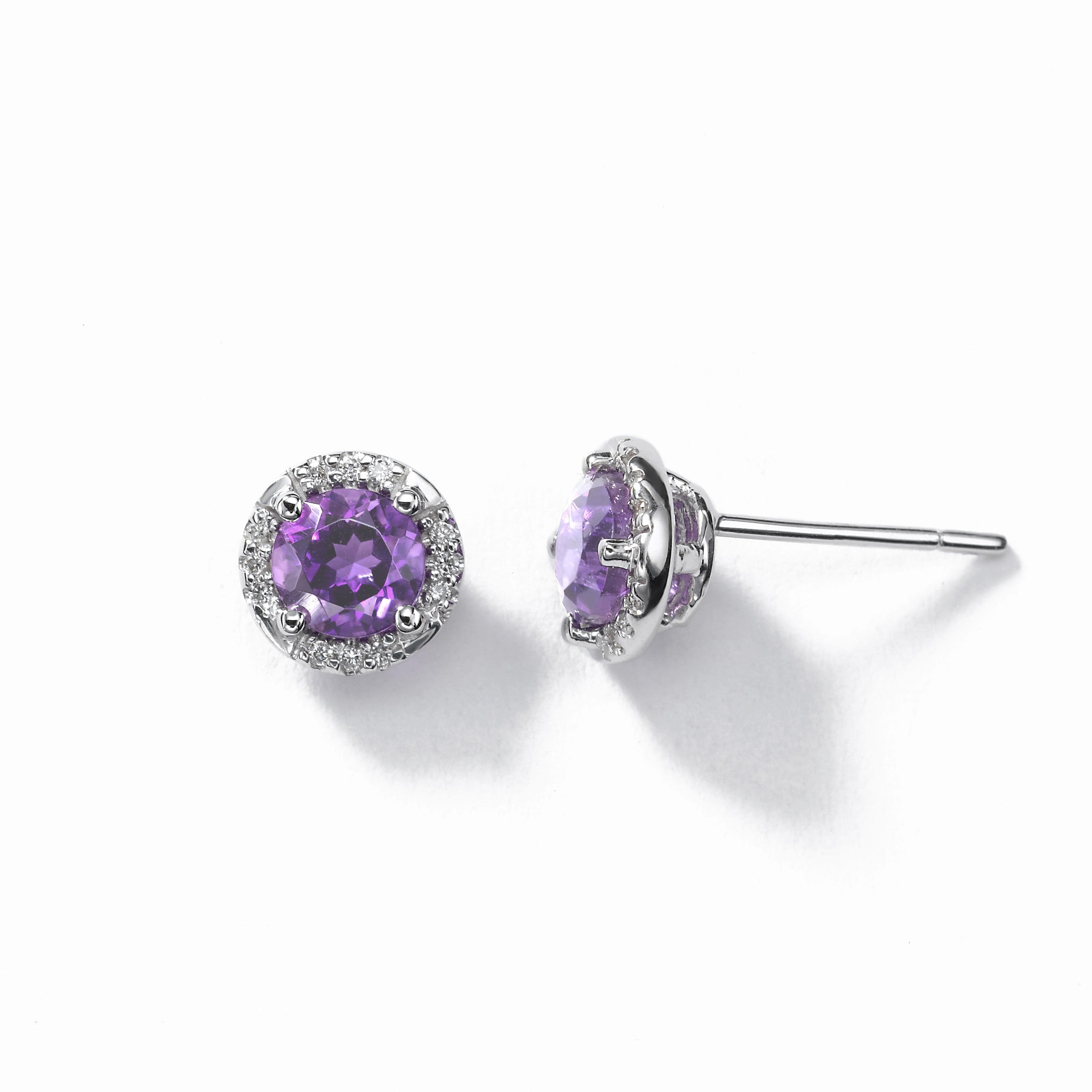 Round Amethyst And Diamond Earrings, 14K White Gold