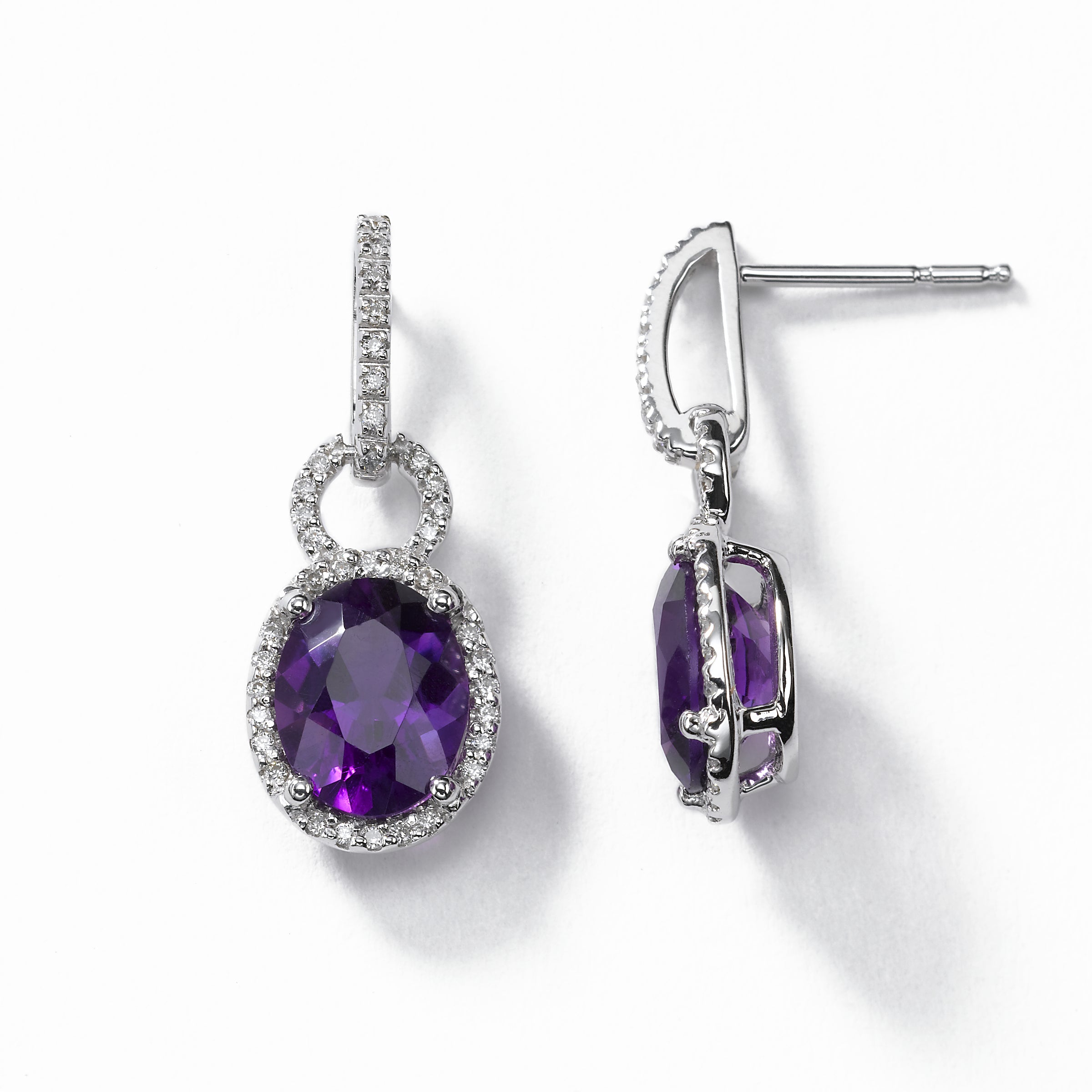 Amethyst and Diamond Earring, 14K