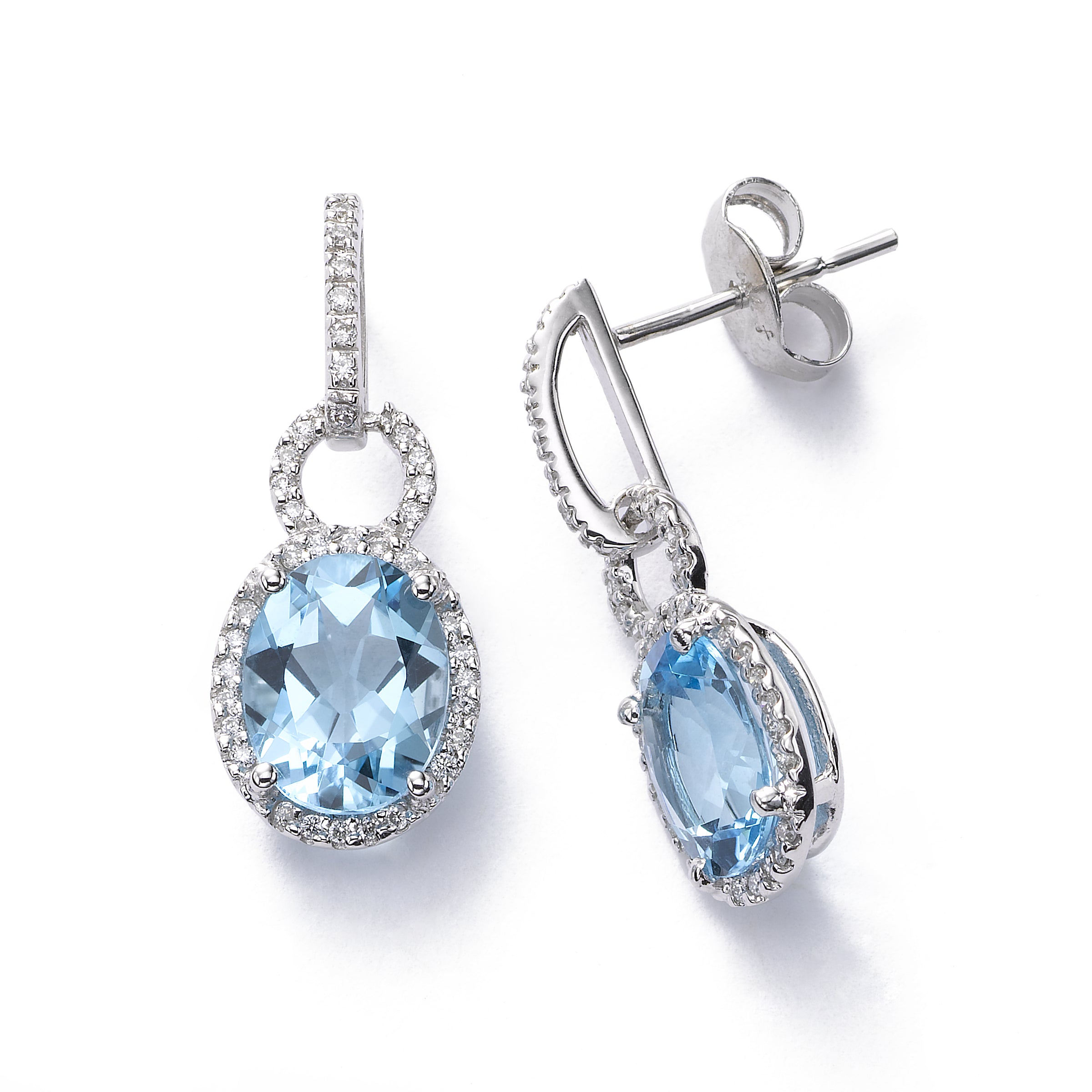 Blue Topaz and Diamond Earring, 14K White Gold