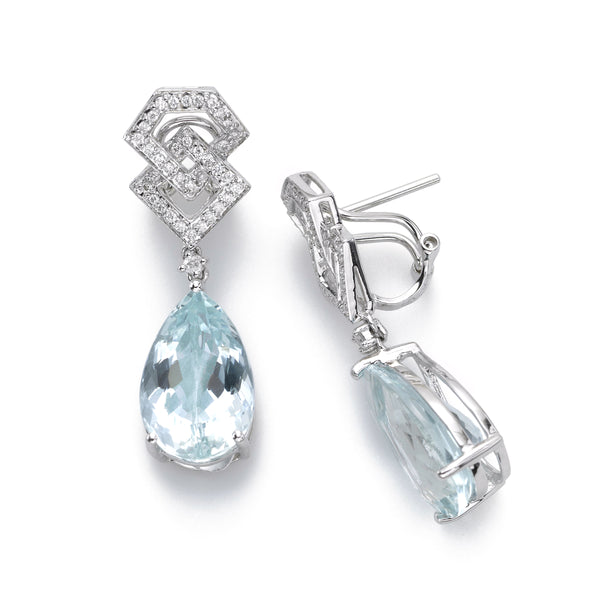 Deco Style Aquamarine and Diamond Earring, 1.50 Inch, 14K White Gold