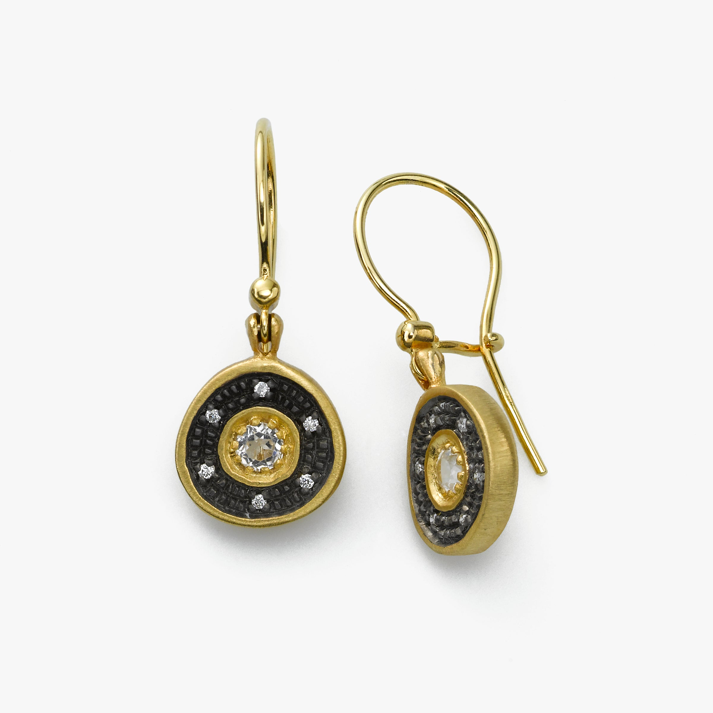 White Topaz Organic Circle Diamond Dangle Earring, 14K Yellow Blackened Gold