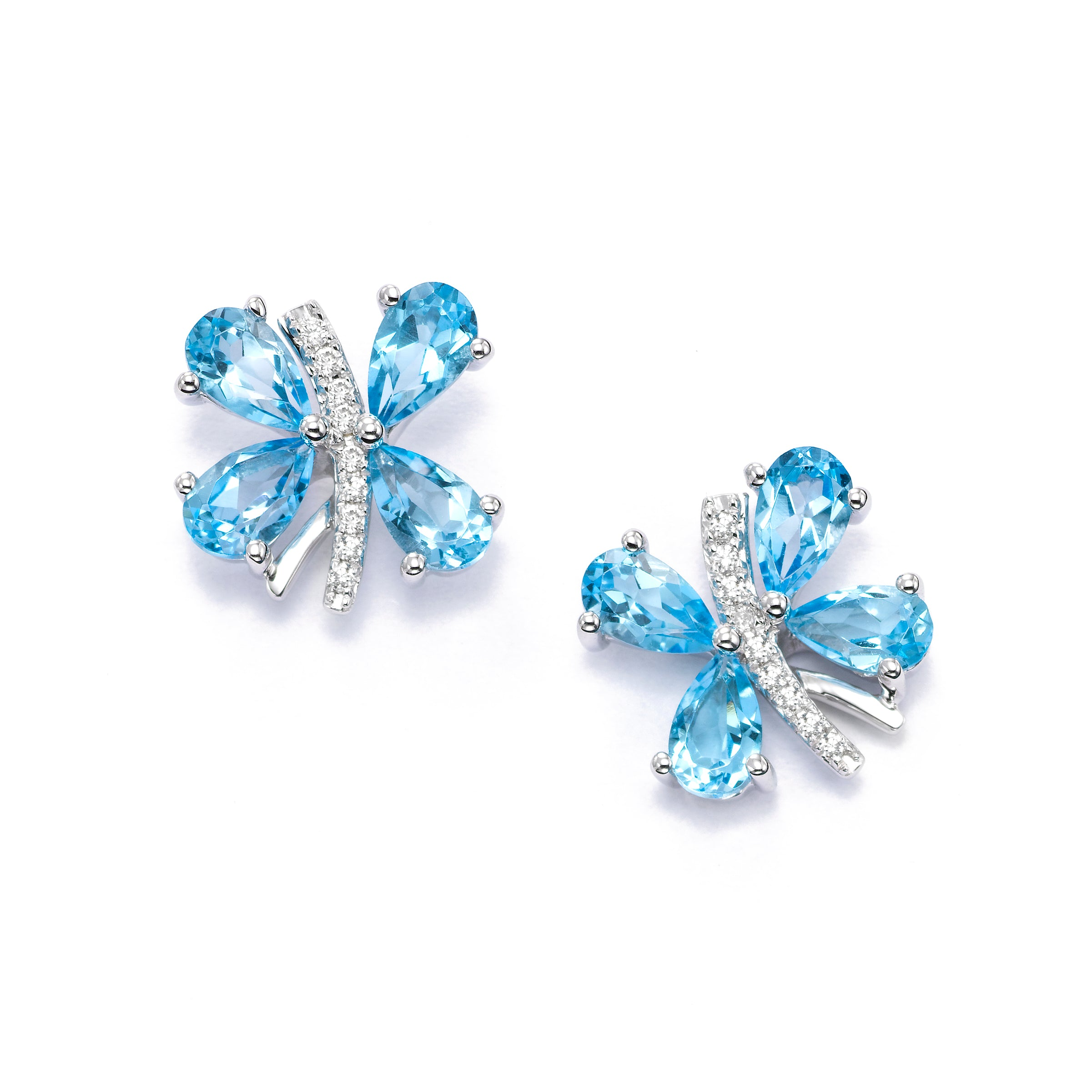 Butterfly Earrings with Blue Topaz and Diamonds, 14K White Gold