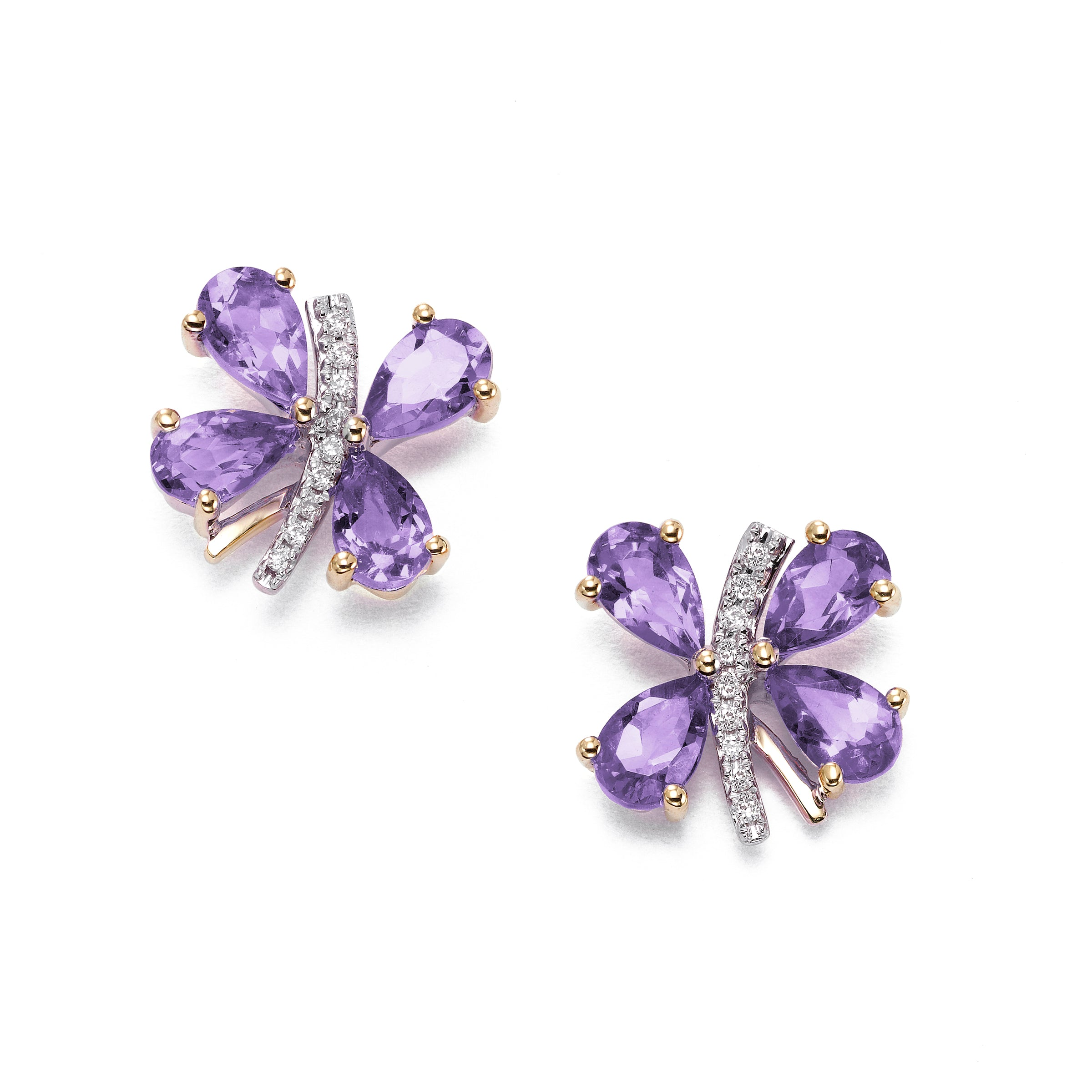 Butterfly Earrings with Amethyst and Diamonds, 14K Yellow Gold