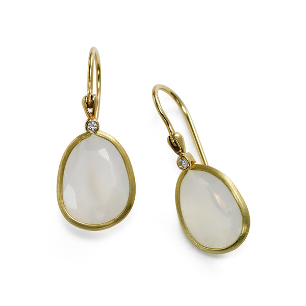 Moonstone and Diamond Dangle Earrings, 14K Yellow Gold