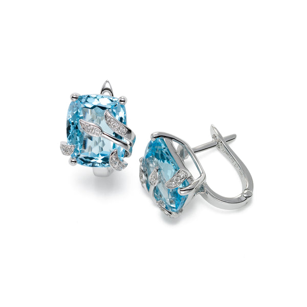 Leaf Design Blue Topaz and Diamond Earrings, 14K White Gold
