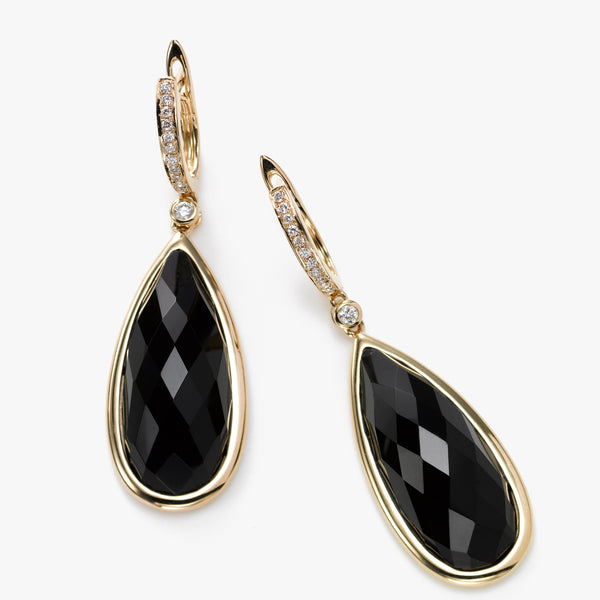 Pear Shape Onyx Earrings with Diamond Accent, 14K Yellow Gold