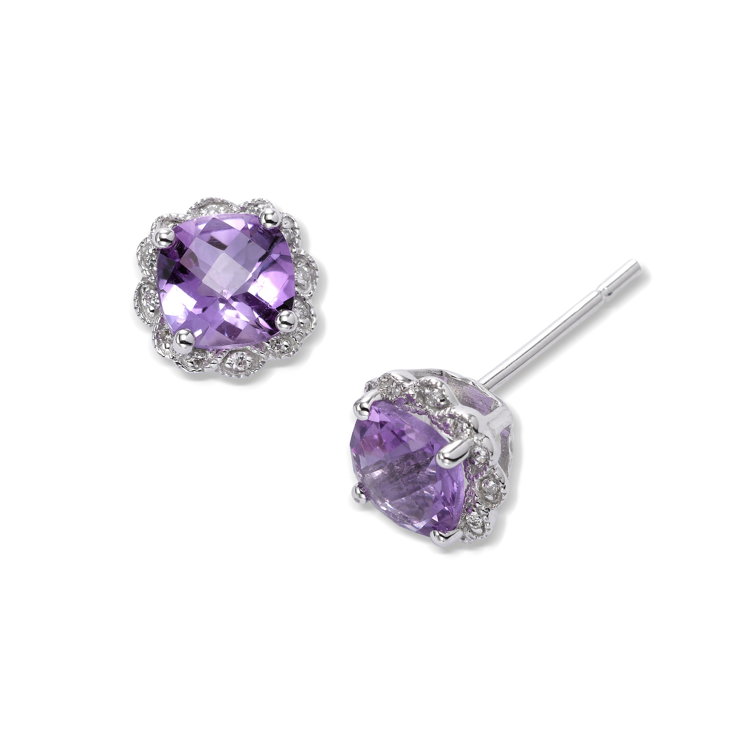 Faceted Amethyst and Diamond Earrings, 14K White Gold