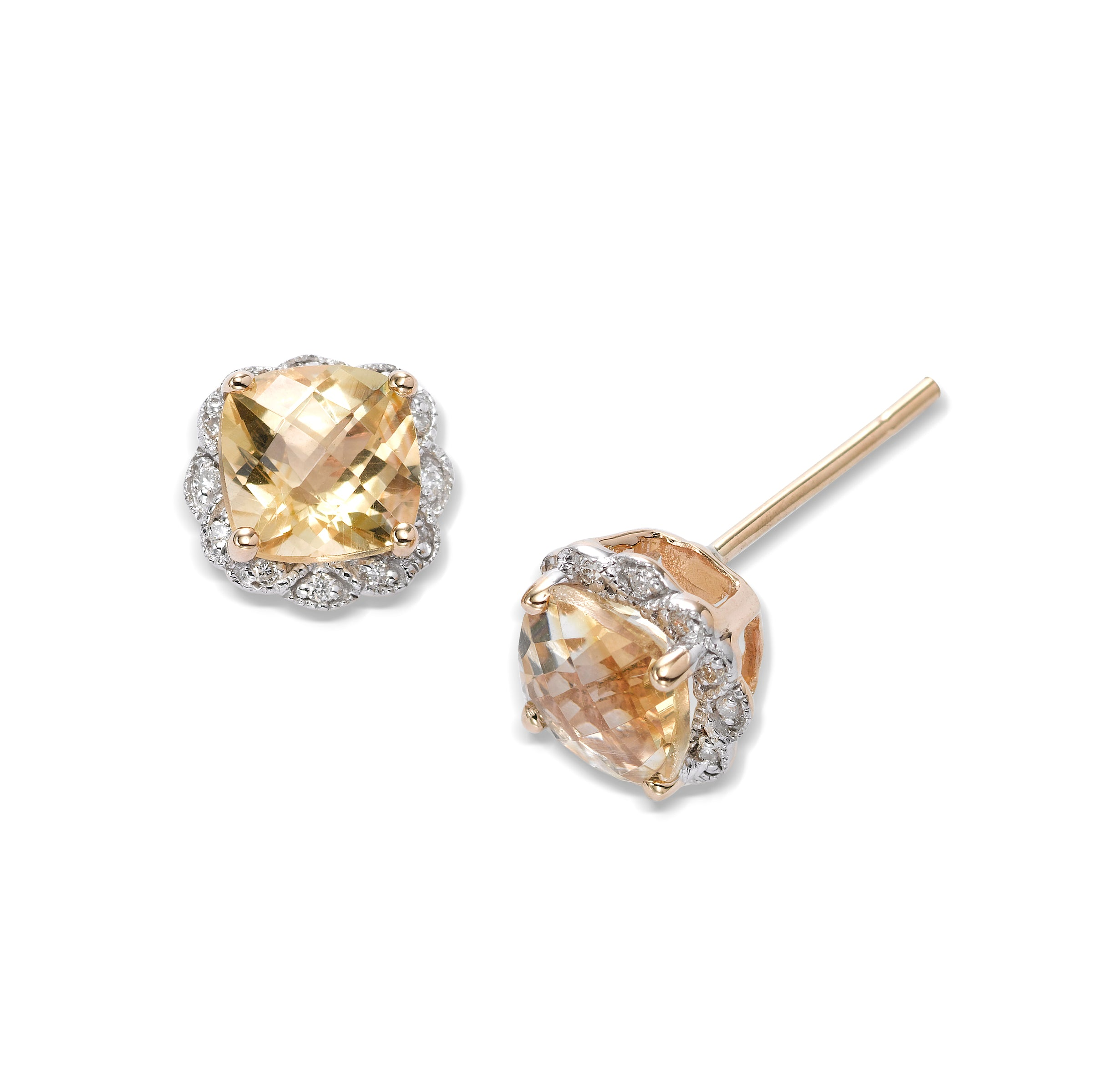 Faceted Citrine and Diamond Earrings, 14K Yellow Gold