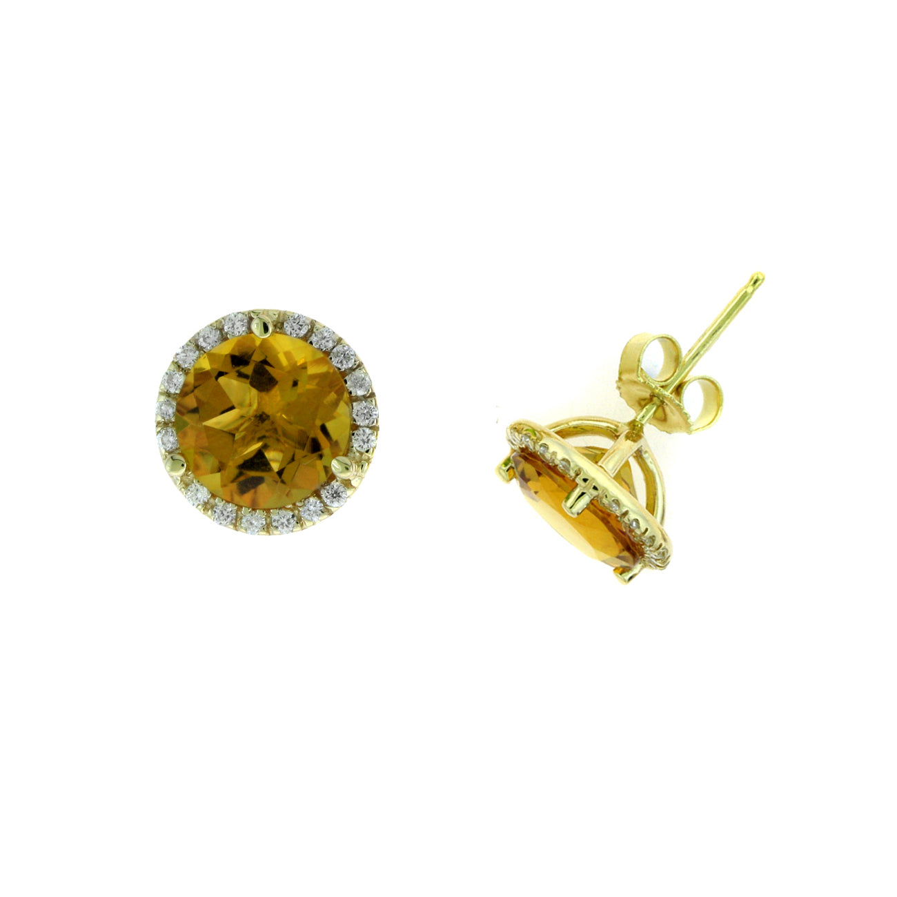 Round Citrine And Diamond Halo Earrings, 14K Yellow Gold