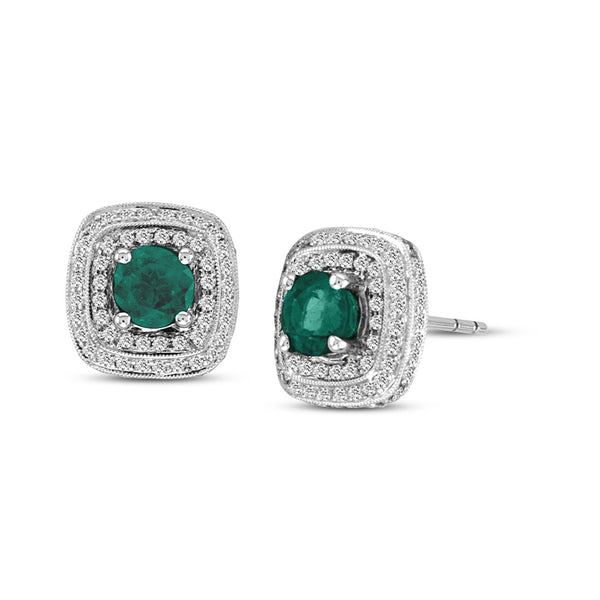Emerald Double Row Halo Square Earrings, 18K White Gold